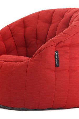 Ambient Lounge Outdoor Sunbrella Butterfly Sofa - Crimson Vibe