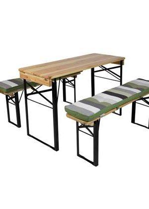 MaximaVida picknicktafel en biertafel kussenpakket Khaki 120 x 27