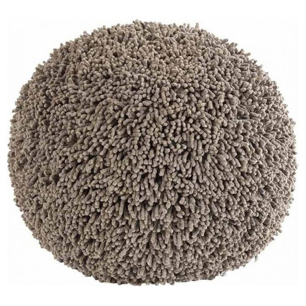 Ziczac Ronde Poef - Tufted Shaggy Taupe