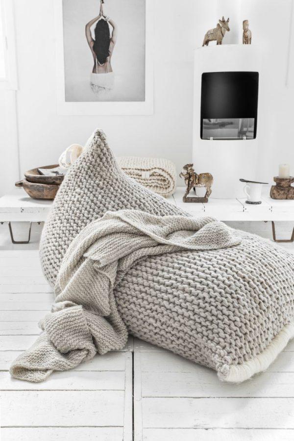 Zilalila Handgebreide Design Kinder Zitzak Nest - Light Grey