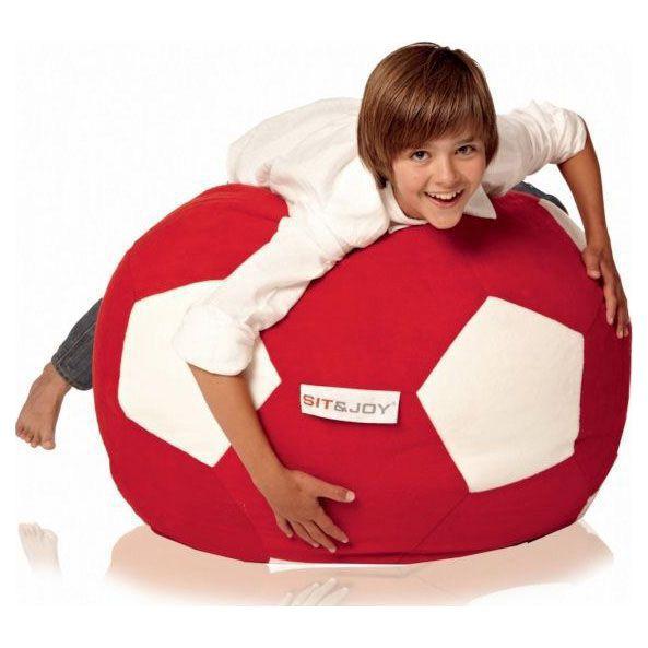 Sit&joy Kinder Zitzak Voetbal zitzak - Rood/Wit