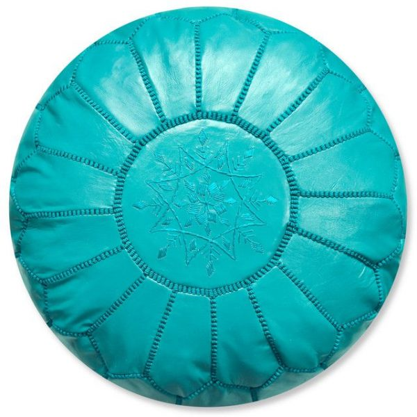 Poufs&Pillows Poef Leder - Turquoise