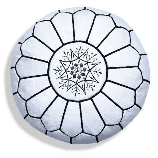 Poufs&Pillows Poef Leder - White&Black