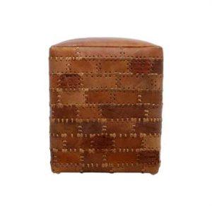 HSM Collection poef Jari - patchwork leder - vintage cognac - Leen Bakker
