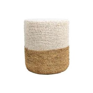 HSM Collection poef Malibu - wit/naturel - 40 cm - Leen Bakker