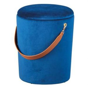 Poef Papua - blauw - 45x35x35 cm - Leen Bakker