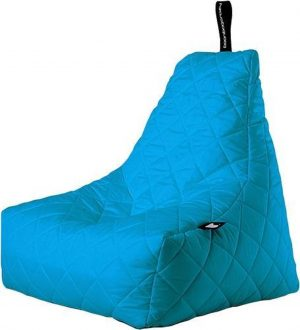 Extreme Lounging b-bag - Luxe zitzak - Indoor en outdoor - Waterafstotend - 95 x 95 x 90 cm - Polyester - Quilted Aquablauw