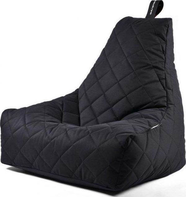 Extreme Lounging b-bag - Luxe zitzak - Indoor en outdoor - Waterafstotend - 95 x 95 x 90 cm - Polyester - Quilted Zwart