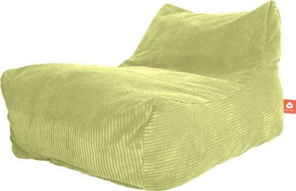 Whoober Lounge stoel zitzak Bali ribcord pistache - zacht en comfortabel - Wasbaar