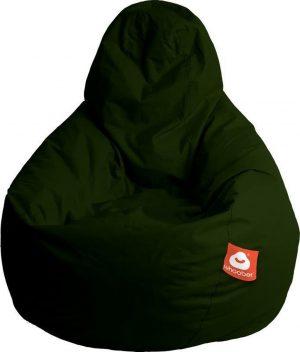 Whoober Peervorm Zitzak Barça outdoor leger groen - Wasbaar - Geschikt voor buiten