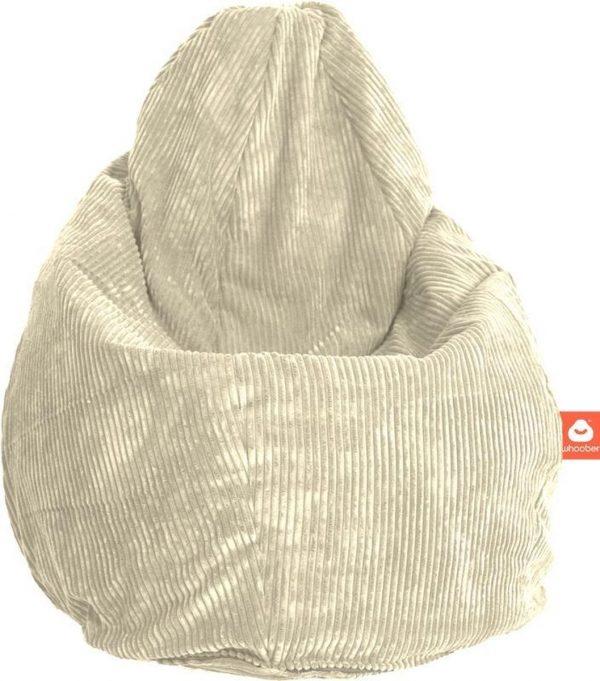 Whoober Peervorm Zitzak Barça ribcord crème - Wasbaar - Zacht en comfortabel