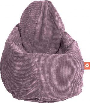 Whoober Peervorm Zitzak Barça ribcord paars - Wasbaar - Zacht en comfortabel