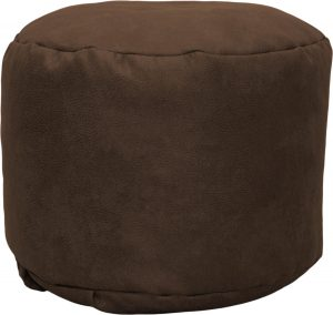 Drop & Sit Leather look poef Rond (50 x 50 x 42 cm) - Cognac