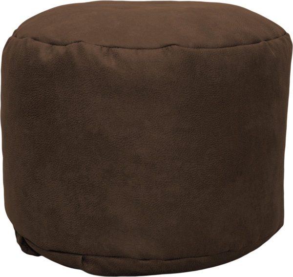 Drop & Sit Leather look poef Rond (50 x 50 x 42 cm) - Cognac