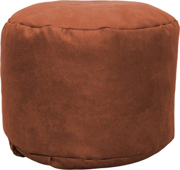Drop & Sit Leather look poef Rond (50 x 50 x 42 cm) - Terra