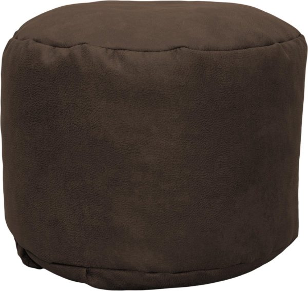 Drop & Sit Leather look poef Rond (50 x 50 x 42 cm) - Tobacco