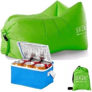 SeatZac lucht zitzak groen inclusief koeltas - 130 x 53 x 70 cm - zitstoel/ luchtbed