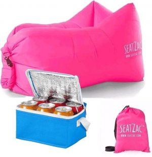 SeatZac lucht zitzak roze inclusief koeltas - 130 x 53 x 70 cm - zitstoel/ luchtbed