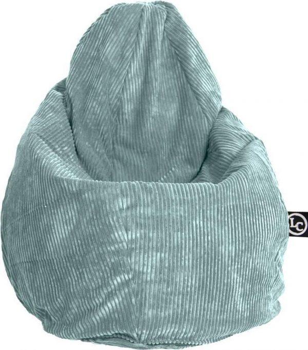 Whoober Peervorm Zitzak Barça ribcord aqua blauw - Wasbaar - Zacht en comfortabel