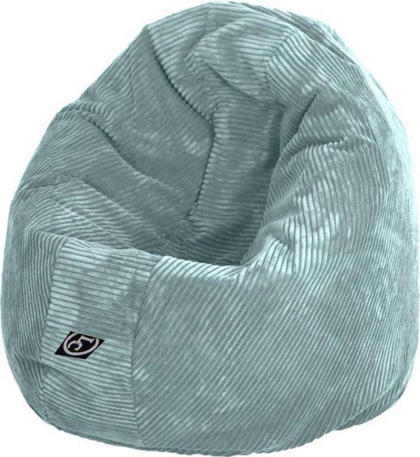 Whoober Ronde Zitzak Ibiza M ribcord aqua blauw - Wasbaar - Zacht en comfortabel