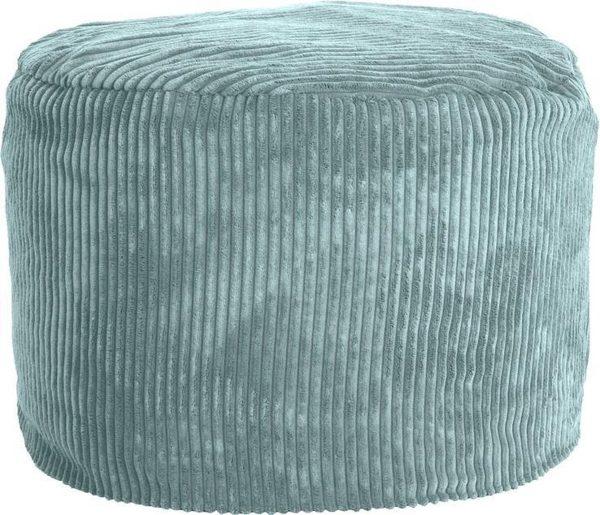 Whoober Zitzak poef Rhodos ribcord aqua blauw - Wasbaar - Zacht en comfortabel