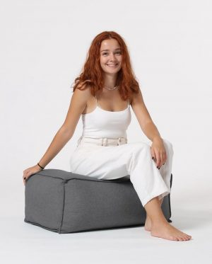 Xoft Living Chilly Linnen Zitzak Pouf - Antraciet