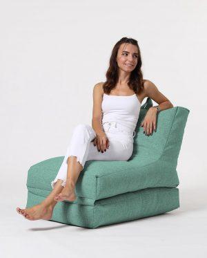 Xoft Living Lounger Linnen Zitzak - Aqua Blauw
