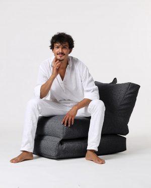 Xoft Living Lounger Linnen Zitzak - Zwart