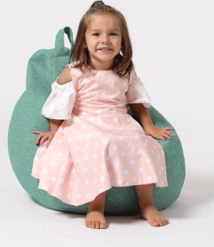 Xoft Living Pear Kids Linnen Zitzak - Aqua Blauw