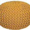 LABEL51 Poef gebreid M katoen geel