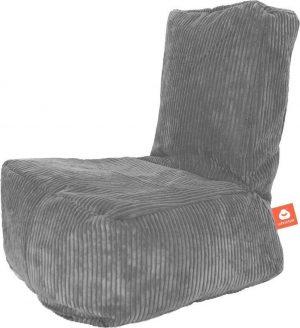 Whoober Kinder-zitzak Fiji ribcord grijs - Wasbaar - Zacht en comfortabel