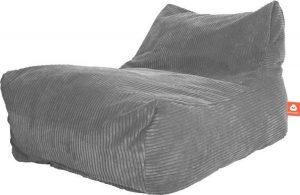 Whoober Lounge stoel zitzak Bali ribcord grijs - zacht en comfortabel - Wasbaar