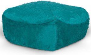 Drop & Sit Furry Poef - Aqua - 50 x 50 cm - Voor Binnen