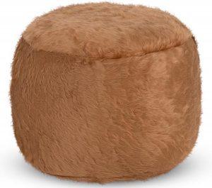 Drop & Sit Furry Poef - Camel - 40 x 40 cm - Voor Binnen