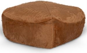 Drop & Sit Furry Poef - Camel - 50 x 50 cm - Voor Binnen