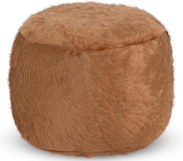 Drop & Sit Furry Poef - Camel - 65 x 65 cm - Voor Binnen