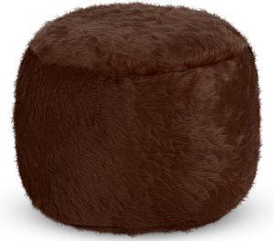 Drop & Sit Furry Poef - Donkerbruin - 40 x 40 cm - Voor Binnen