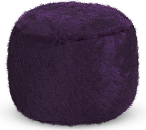 Drop & Sit Furry Poef - Donkerpaars - 40 x 40 cm - Voor Binnen