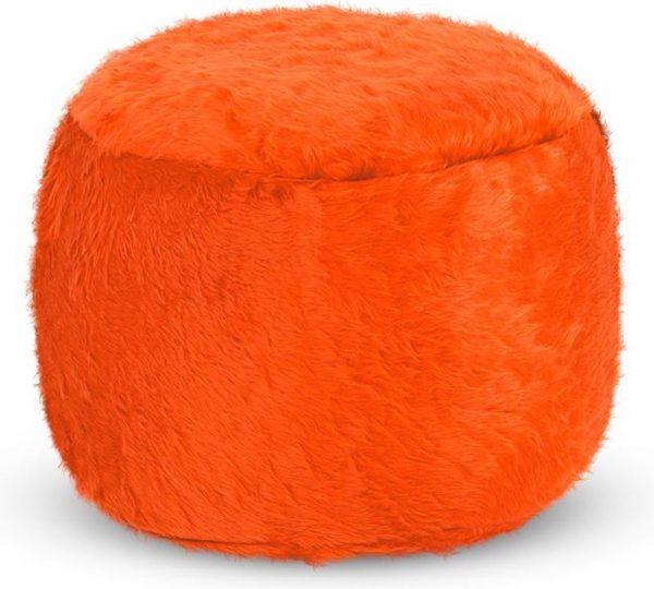 Drop & Sit Furry Poef - Oranje - 40 x 40 cm - Voor Binnen