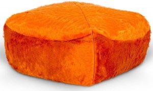 Drop & Sit Furry Poef - Oranje - 50 x 50 cm - Voor Binnen