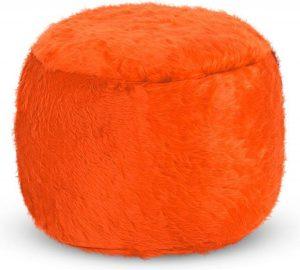 Drop & Sit Furry Poef - Oranje - 65 x 65 cm - Voor Binnen