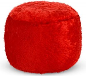 Drop & Sit Furry Poef - Rood - 40 x 40 cm - Voor Binnen
