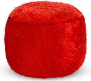 Drop & Sit Furry Poef - Rood - 65 x 65 cm - Voor Binnen