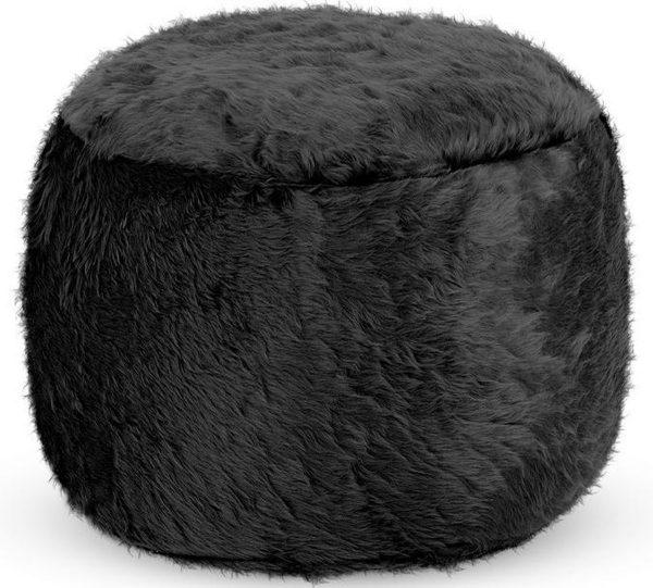 Drop & Sit Furry Poef - Zwart - 40 x 40 cm - Voor Binnen