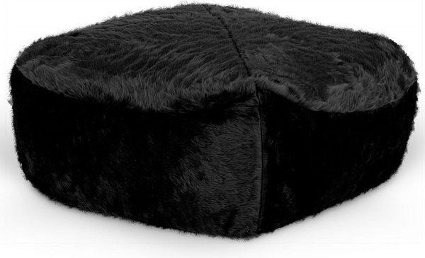 Drop & Sit Furry Poef - Zwart - 50 x 50 cm - Voor Binnen