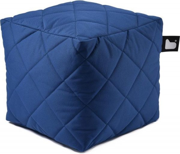 Extreme lounging - B-box - Quilted - Poef - Outdoor & Indoor - Aquablauw