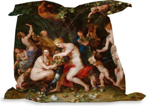 PillowMonkey zitzak - Nimfen vullen de hoorn des overvloeds - Schilderij van Peter Paul Rubens - 135x135 cm - Binnen en Buiten