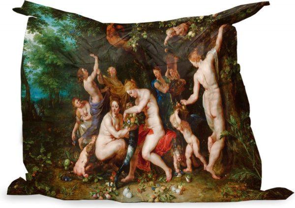 PillowMonkey zitzak - Nimfen vullen de hoorn des overvloeds - Schilderij van Peter Paul Rubens - 140x100 cm - Binnen en Buiten