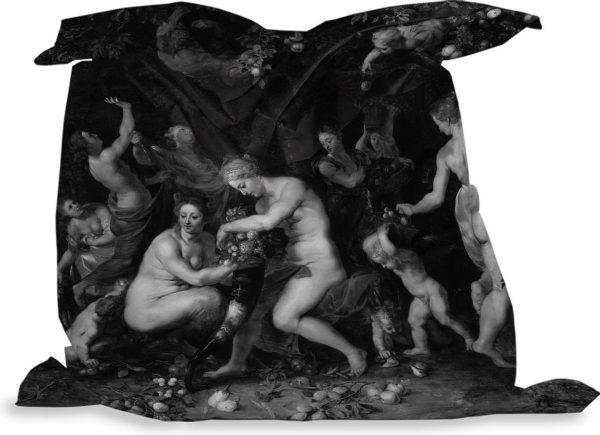 PillowMonkey zitzak - Nimfen vullen de hoorn des overvloeds in zwart wit - Schilderij van Peter Paul Rubens - 135x135 cm - Binnen en Buiten